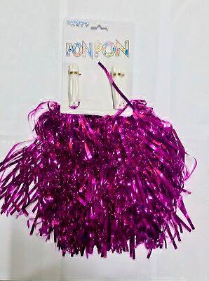 1 COPPIA PON PON CHEERLEADER FUCSIA METALLIZZATO accessorio danza un paio
