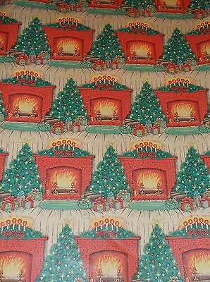 VTG CHRISTMAS TREE FIREPLACE WRAPPING PAPER GIFT WRAP 2 YARDS NOS (Paper Christmas Tree)