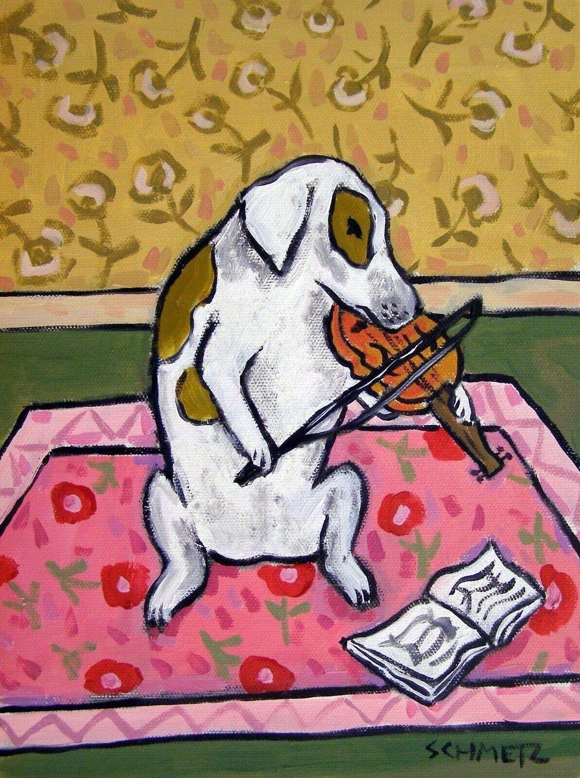 BullDog art PRINT abstract folk violin painting JSCHMETZ 8x10 dog poster giclee