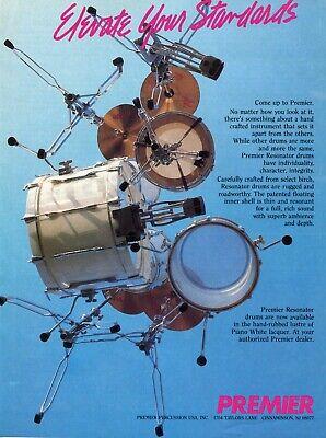 1987 Print Ad of Premier Resonator Birch Drum Kit Piano White Lacquer