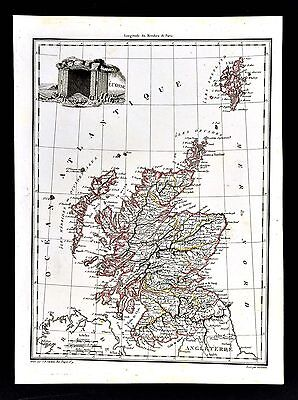 1812 Malte Brun Lapie Map - Scotland Edinburgh Loch Ness Glasgow Great Britain