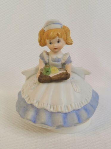 "NURSE MUSICAL ""YOU LIGHT UP MY LIFE"" Vintage Female Caregiver in Dress Figurine"