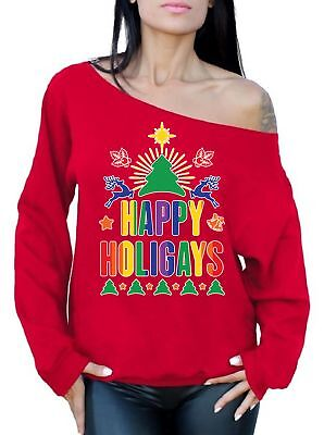 Gay Christmas Sweaters (Happy Holigays Sweatshirt Off Shoulder Top Ugly Christmas Sweatshirt Gay)