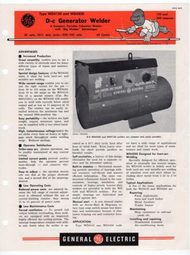 "1951 GE Advertising Sales Sheet: ""Type WD4150 & WD4200 D-c Generator Welder"""