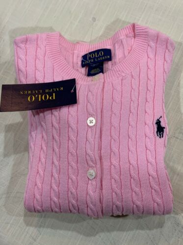 Ralph Lauren Polo Girls Pink Cable Sweater Cardigan Size S (7) NWT