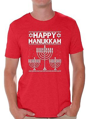 - Happy Hanukkah Men's T-shirt Ugly Christmas Shirts Funny Xmas Gifts