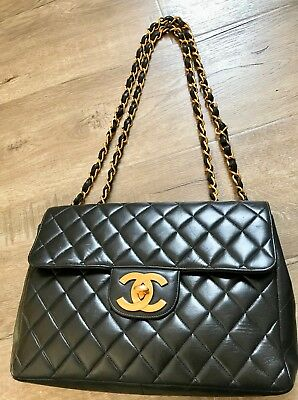 CHANEL Vintage Jumbo MAXI Single Flap Double Chain GHW Black Quilted Lambskin  Quilted Lambskin Single Flap