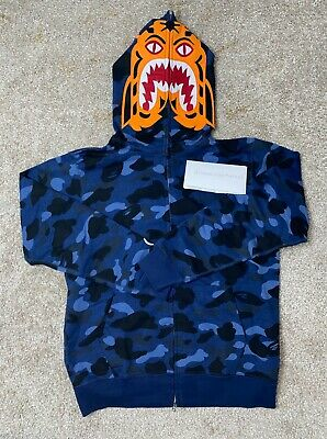 A Bathing Ape Full Zip Blue Camo Tiger Shark Jacket M