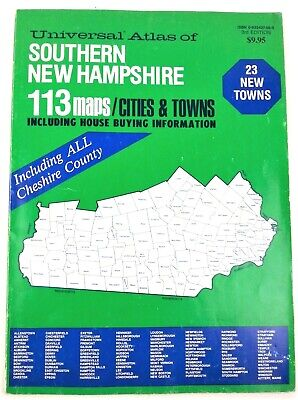 Universal Atlas Southern New Hampshire 3rd Edition 1987 Includes Cheshire County