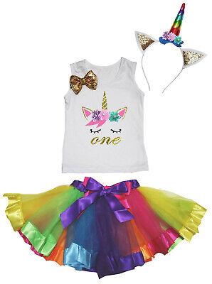 Halloween 1st-6th Unicorn Birthday Shirt Rainbow Skirt Headband Kids Costume - First Birthday Halloween Costumes