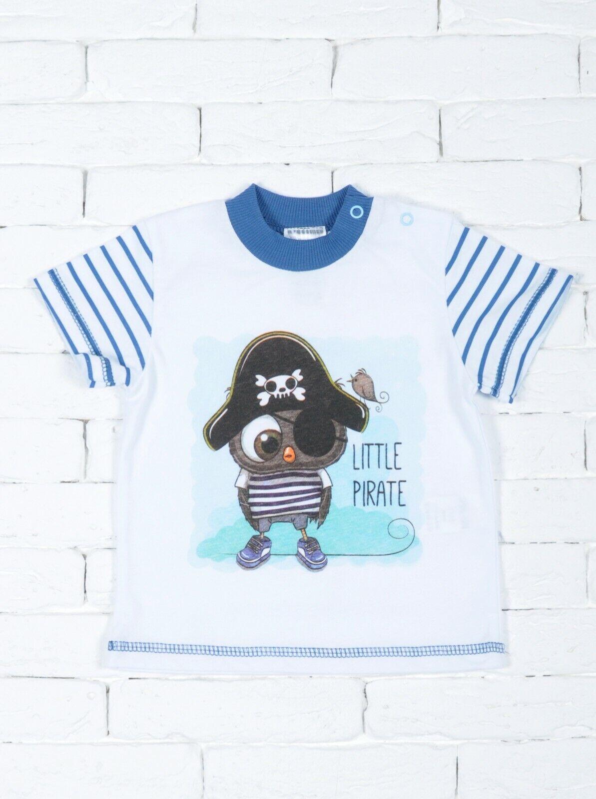 Baby T-Shirt Shirt kurzarm Rundhals Jungen Baumwolle Gr. 68-74 mit einer Eule