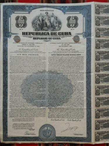 US caribbean island bond 4% veterans, courts and public works 1953; uncancelled