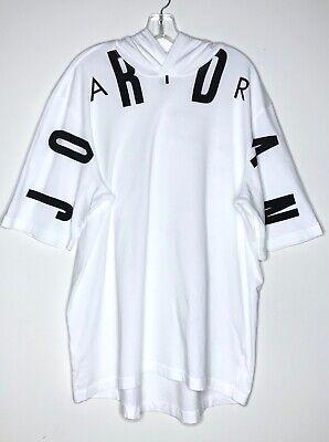 Air Jordan Jumpman Short Sleeve Hoodie Hooded Graphic T-Shirt White Black Sz XL