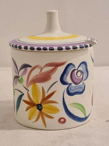 Vintage Poole Pottery England Hand Painted Jam Preserve Pot Jar & Lid mustard
