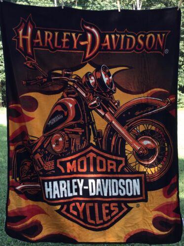 "NEW Harley Davidson Motorcycle Flames Throw Blanket ~ 50"" x 60"" ~ Northwest ~"
