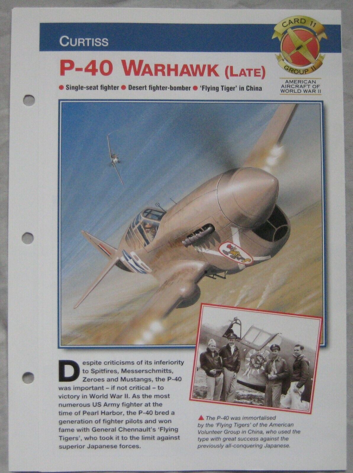 Aircraft of the World Card 11 , Group 11 - Curtiss P-40 Warhawk