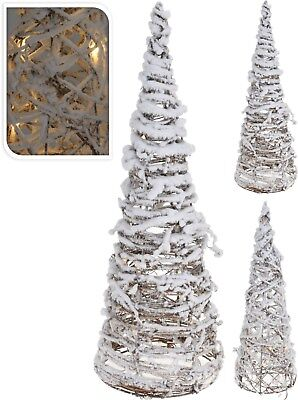 40cm metal frame rattan christmas tree with snow 10 led lights light up tree