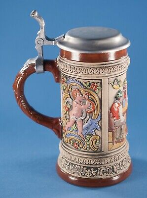 Vtg Gerz Beer Stein with Lid West Germany Stoneware
