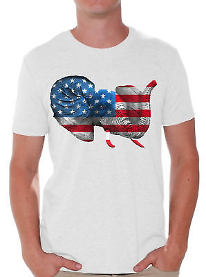 American Flag Cute Elephant Men's T shirt Tops 4th Of July USA (Cute Fourth Of July Shirts)