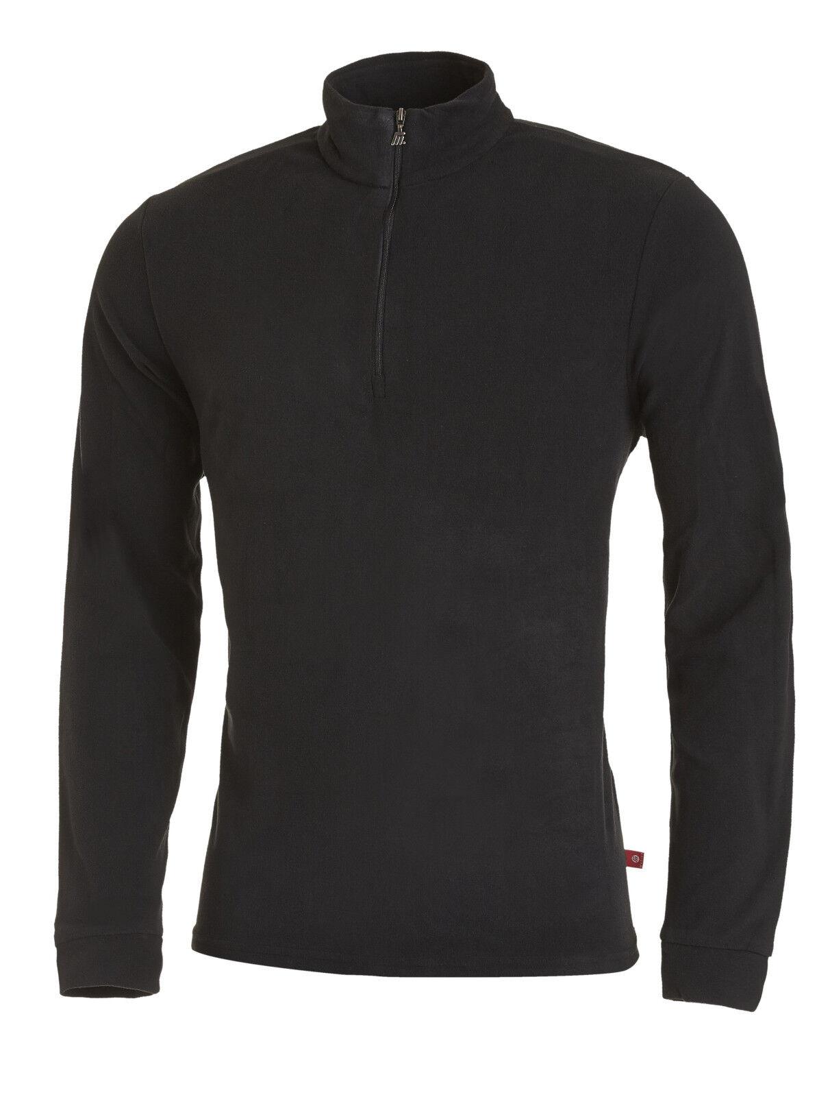 Medico Herren Ski Shirt Fleece Pullover Rolli langarm mit Zipper Schwarz