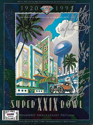 Tony Martin Mark Seay Natrone Means Chargers Signed Super Bowl XXIX Program PSA