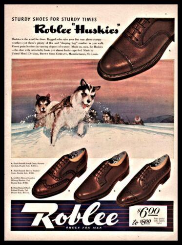 1942 SIBERIAN HUSKY Sled Dog Team Mushing Roblee Men