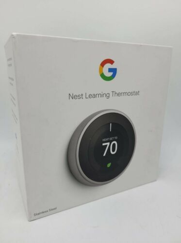 Google Nest Learning Thermostat 3rd Gen in Stainless Steel T3007ES