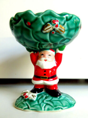 VTG Napco Japan Christmas Santa Claus Taper Candle Holder X-5476 1950