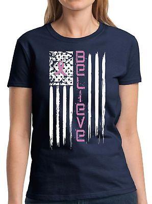 Believe Flag Shirt Pink Ribbon Tshirt Breast Cancer Awareness Shirt for Women (Believe Womens Pink T-shirt)