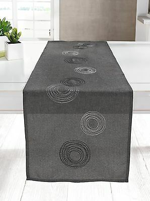 Tischläufer 40 x 150 cm Tischdecke Tischtuch Tisch Deko modern grau schwarz edel