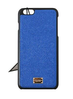 NEW $180 DOLCE & GABBANA Phone Case Shiny Blue Leather Gold Logo iPhone6 Plus