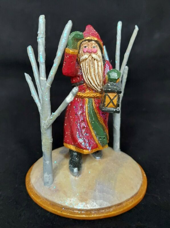 Midwest of Cannon Falls Pam Schifferl Red Santa w/ Lantern Gray Trees Figurine
