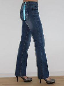 Damen-Stretch-Jeans-mit-Nieten-Blau-Gr-34-NEU-Karma-Woman