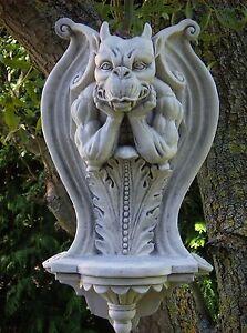 HORN,Teufel,Wandkonsole Gargoyle,Torwächter, Deco, Haus, Garten,  Steinfigur