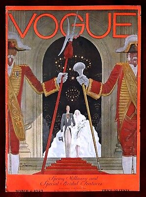 Vogue Magazine Original Cover Only ~ March 2, 1929 ~ Lepape
