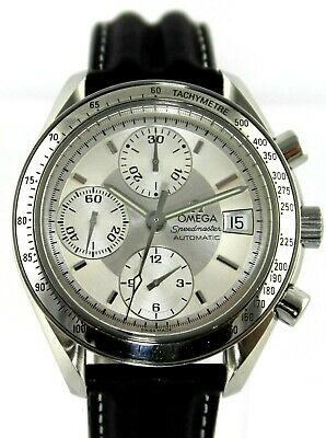 OMEGA SPEEDMASTER 3813.30 AUTOMATIC CHRONOGRAPH SILVER MENS BLACK LEATHER WATCH
