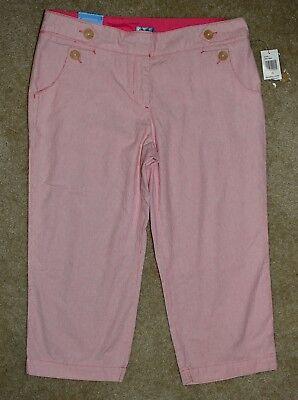 - New Izod Crop Pants Pink White Striped Khaki Capris Cotton Sz 10
