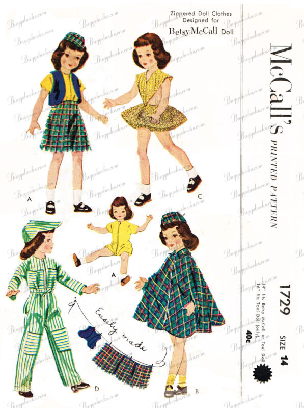 Vintage McCalls 1729 - 14 inch Betsy McCall or Toni Doll Clothes Sewing Pattern
