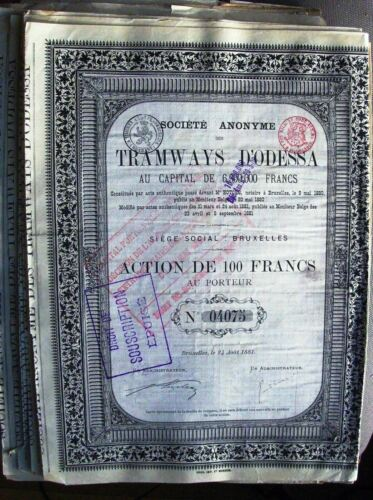 Russian-Belgium 100 Francs bond Electrical Tramways of Odessa 1881 Ukraine