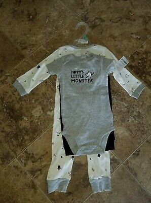 Nwt Baby Boys Carter's 3 Piece Romper Pants Shirt Set Little Mommy's Monster 9M Little Monster Pant
