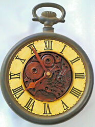 Vintage~Pocket Watch Wall Clock 7 Quartz Vintage Steel Look Tested/Works-2002