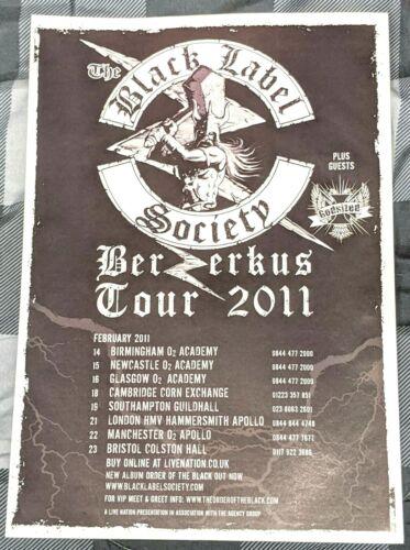 BLACK LABEL SOCIETY / ZAKK WYLDE / 2011 BERZERKUS TOUR MAGAZINE PRINT AD