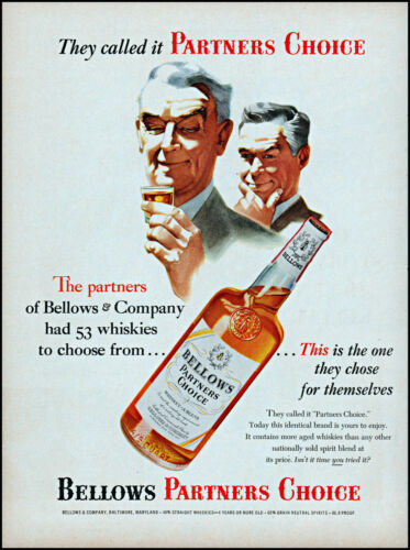 1954 Bellows Partners Choice Whiskey Baltimore Maryland retro art print ad L82