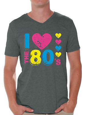 Men's I Love The 80's V-neck T shirt Tops for 80's Fans - I Love The 80s Tshirt
