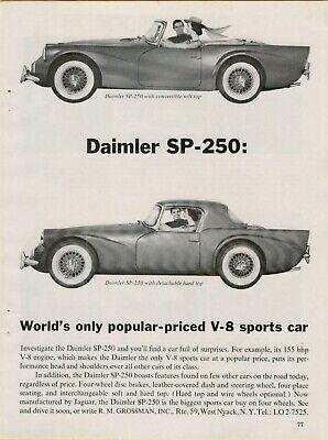 1962 Daimler SP-250 Hard Top Convertible V-8 Made by Jaguar Vintage Print Ad