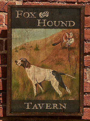 "Antique Look Repro of Original Art - Trade Sign ""Fox & Hound Tavern"" Hunt Dog"
