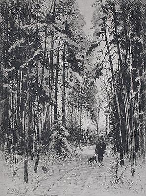 Winter im Forst, Jäger im Wald - Eduard Weichberger - alte gerahmte Radierung