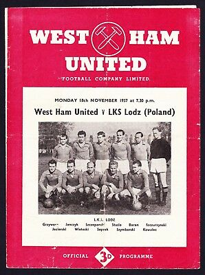 WEST HAM UNITED v LKS LODZ Friendly 1957/1958 Good Condition Football Programme