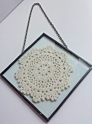 White Ecru CROCHETED DOILIE DOILY Glass Vintage Hanging Handcrafted Decor Art