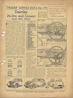 Daimler 2½ Litre & Consort DB18 1946-51 Motor Trader Service Data No. 179 1951